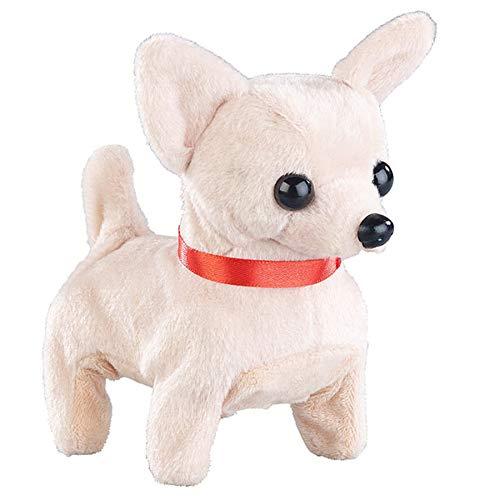 Monsterzeug Laufendes Kuscheltier - Hund, Chihuahua Plüschtier mit Soundeffekt, Spielzeughund der bellt, Batteriebetrieben, Farbe: Creme