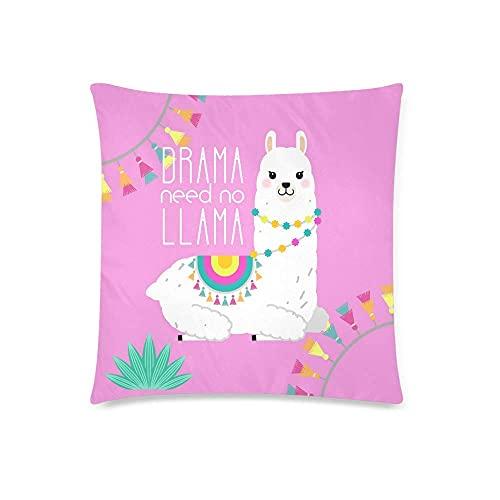 H.Slay Cute Llama y Alpaca para diseño de guardería Drama Need No Llama Funda de cojín Funda de Almohada con Funda de Almohada para decoración de sofá de Dormitorio