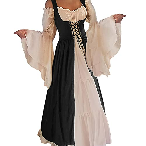 Abaowedding Womens's Medieval Renaissance Costume Cosplay Chemise and Over Dress 2X-large/3X-Large Black and Ivory