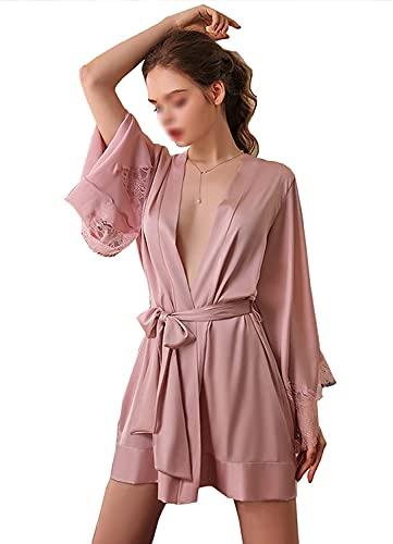WANGXIAOYUE Pijama Damas Profundo Cuello en V Albornoz, Color sólido Sedoso Encaje Satinado Bata con la Correa de Verano Traje del Kimono Traje de Encaje (Color : Pink, Size : One Size)