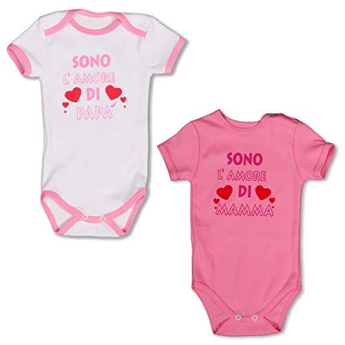 Repanda 2 Body Neonato Manica Corta Divertenti - 100% Cotone - Bianco e Rosa - Femmina 0-3 Mesi, Taglia 56
