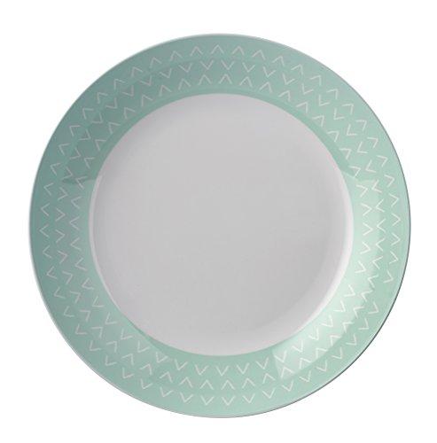 Green Arrow Bol Bas en mélamine pour Pique-Nique/Barbecue/Buffet/Salade de Fruits/céréales/Soupe/pâtes Vert Menthe et Blanc 22 cm