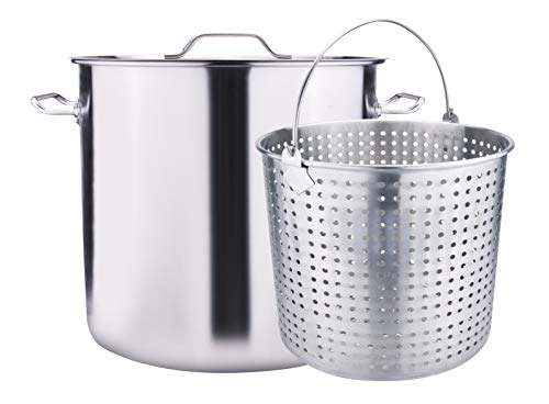 ARC 64QT-16 Gallon S64B Stainless Steel Stock Pot Crawfish Seafood Pot Turkey Fryer Pot with Boil Basket, for Crawfish Lobster Seafood Cooking or Turkey Frying