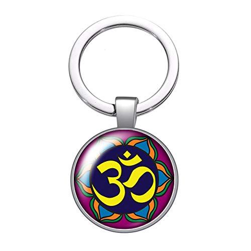 Buddhism Buddha Yoga Symbol Glass Cabochon Keychain Bag Car Key Chain Ring Holder Charms Silver Color Keychains Men Women Gifts
