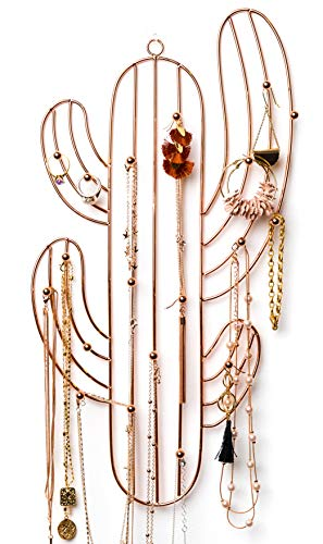 Wall Jewelry Organizer | Necklace Holder with Large Hooks | Rose Gold Cactus Jewelry Holder | Wall Mounted Jewelry Hanger for Necklaces, Bracelets, Earrings, Rings | Hanging Jewelry Organizer
