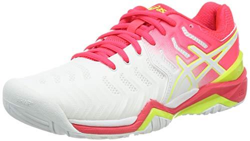 ASICS Damen Gel-Resolution 7 Tennisschuhe, Weiß (White/Laser Pink 116), 39.5 EU