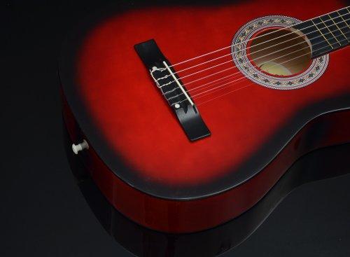 Ts-Ideen 5264 Akustik Gitarre Klassikgitarre Konzertgitarre mit Tasche, Gurt, Saiten und Plektrum rot/schwarz - 8
