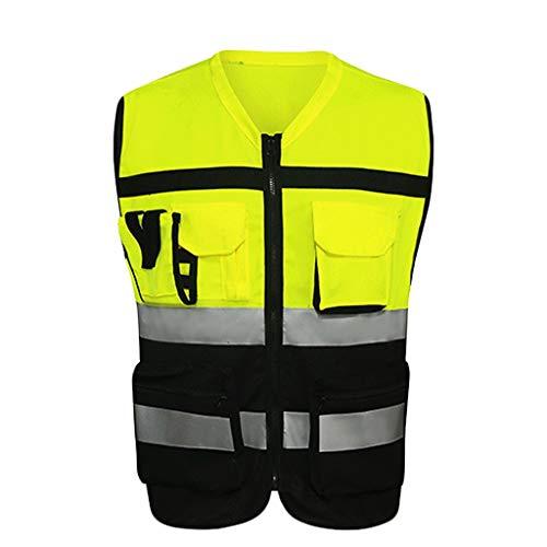 DBL Warnweste Leichte und atmungsaktive Arbeitskleidung mit mehreren Taschen Reisen bei Nacht Sicherheit Reflektierende Sicherheitsweste Sicherheitswesten (Color : B, Size : XL)