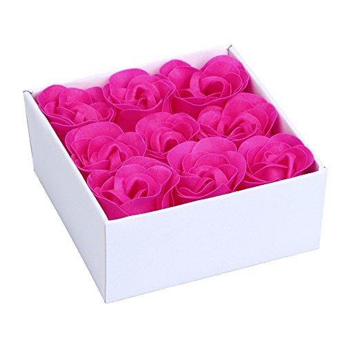 Andouy Seife Rose Blume Floral Duft Seife Rose Flower Blumen in Geschenkbox für Geburtstag/Jahrestag/Valentinstag/Muttertag(10x10x4.5cm.Pink)