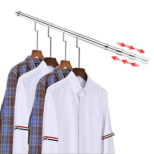 Adjustable Closet Rod for Hanging Clothes Stainless Steel Closet Pole for 30-48 In Closet Bar with 2 Brackets for Wardrobes Closet Shower Window Curtain Hanger Rod Clothes Rod for Closet Clothes Rail