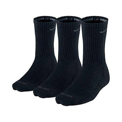 Nike Herren Dri-Fit gepolsterten Crew Socken - 3er-Pack (Schwarz, Schuh Größe: 8-12)