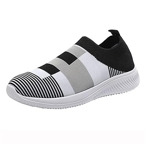 Orthopedic Walking Sandals, Mesh Slip On Air Cushion Garden Shoes, Summer Platform Mesh Mules Sneaker Sandals, Women's Breathable Casual Air Cushion Slip on(C30_Black,40)