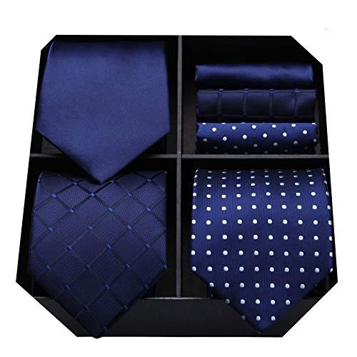 HISDERN Lotto 3 PCS Cravatta da uomo Polka Dot Check...