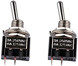 Podoy Mini Toggle Switch 6A 125VAC SPST Submini Switch 3 Pins ON-ON (2 Pack)