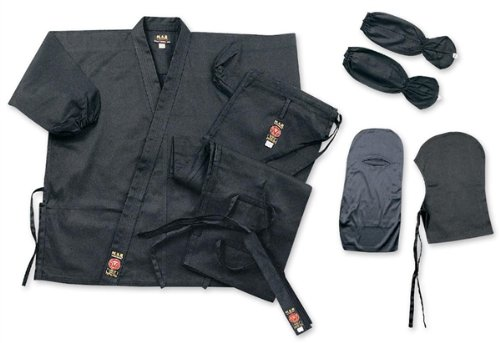 Internatives M.A.R Ltd Ninja Uniform GI Kostüm Outfit Kleidung Ninjitsu Gear Stoff Baumwolle schwarz 150 cm ^^