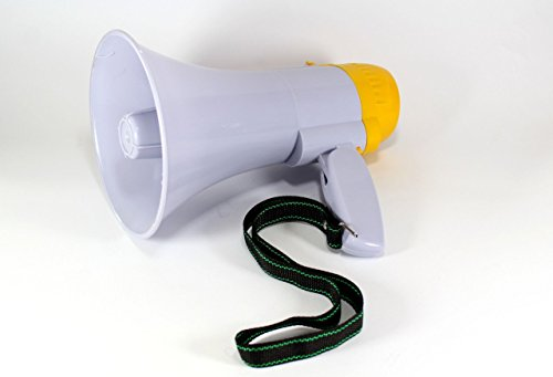Megáfono altavoz profesional portátil con ajuste de volumen, sirena y mango plegable,...