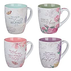 floral set of mugs, christian gifts