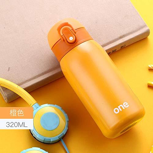 NO BAND 320ML Termo para bebé Biberón Taza para Agua Potable para bebés Acero Inoxidable Frasco de vacío pequeña Olla Linda Amante Regalo para niños-Naranja
