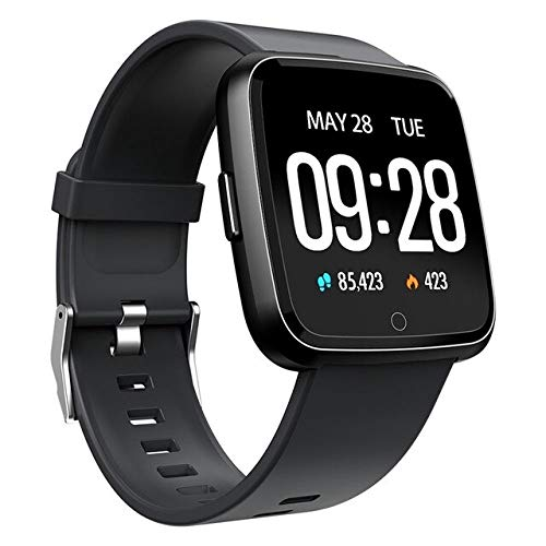 Smart Watch Fitness Tracker Armband Pulsmesser Blutdruck Frauen Männer Uhr Wasserdicht Smart Watch,Schwarze Silikon-Band