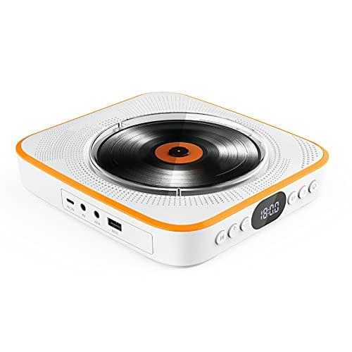 Wandmontage DVD-Speler, HD-Draagbare Dvd-Speler, Ingebouwde Luidspreker/Bluetooth, Ondersteuning DVD/USB/BT/FM/AUX-Afspeelmodus, Voor Thuis/School/Sporten,Yellow