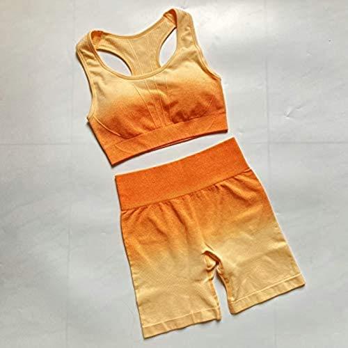 HZYDD Ensemble de yoga - 2 pièces - Ensemble de yoga ombré - Soutien-gorge de sport sans couture + short de fitness taille haute - Vêtements de sport extensibles - Couleur : orange - Taille : L