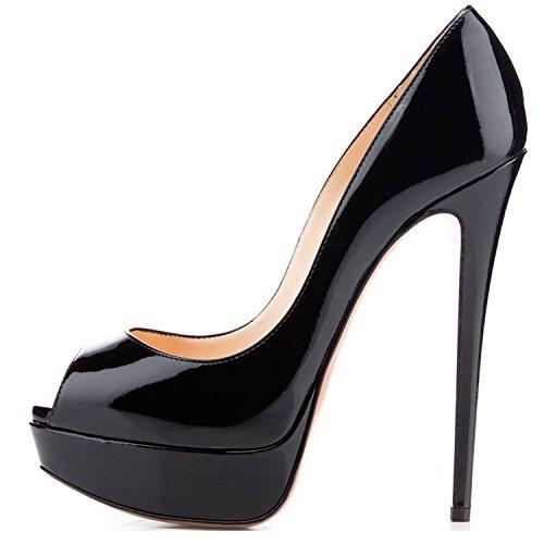 elashe Damenschuhe High Heels Plateau Pumps Peep Toe Stilettos Kleid-Partei Schuhe Schwarz EU37