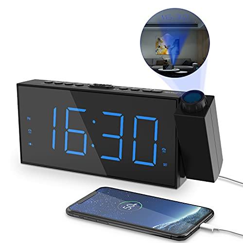 Projection Digital Alarm Clock for Bedrooms,Loud Alarm Clock for Heavy Sleeper,Digital Clock with Projection on Ceiling,7''Large Digtal LED Display&Dimmer,USB Charger,Kids Dual Alarms,Battery Backup