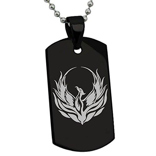 Tioneer Black Stainless Steel Greek Mythology Phoenix Symbol Dog Tag Pendant Necklace