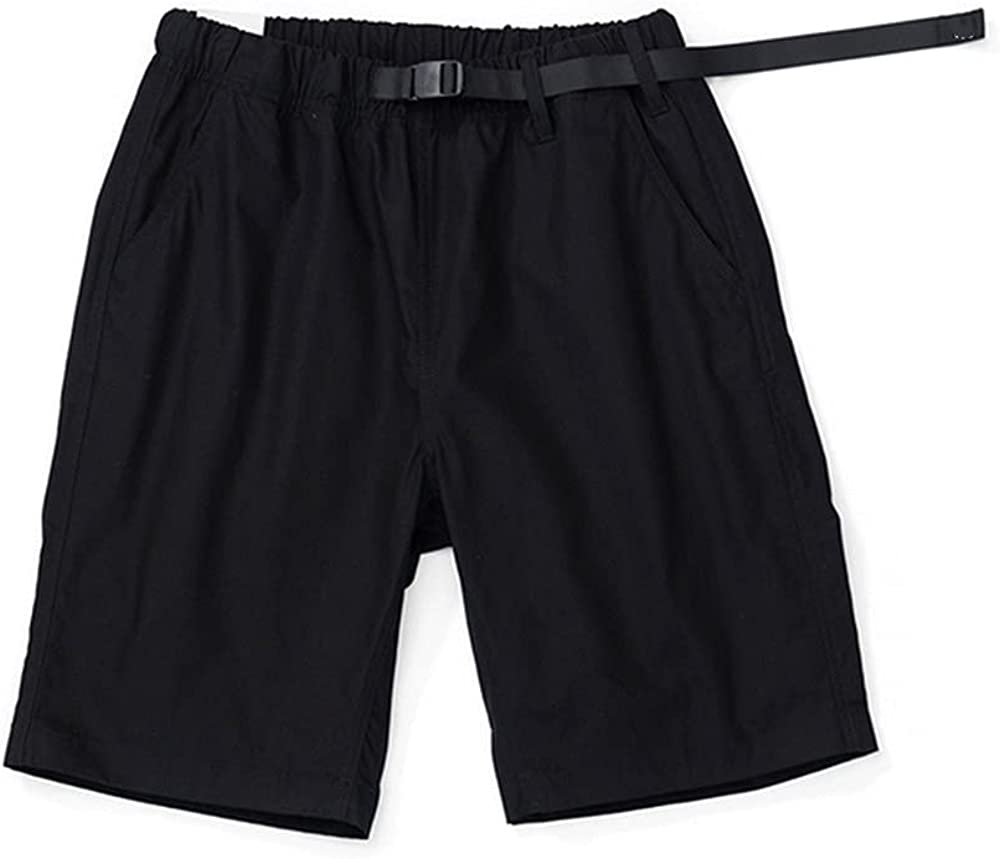 NP Summer Belted Shorts Men Cotton Comfortable Elastic Waist KneeLengt