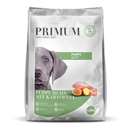 Primum | 1,5 kg | Halbfeuchtes Trockenfutter für Hunde | getreidefrei | Soft Puppy Huhn mit Kartoffel | Extra viel Fleisch | Optimal verdaulich | Herstellung in Deutschland