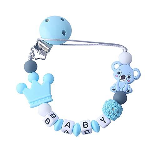 Schnullerkette Silikon Personalisierter Baby Schnuller Schnullerband für Baby Kinderkrankheiten Relief Schmerzen, Koala Silikon Clip für Mädchen und Jungen Baby Blau