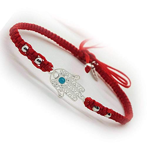 BARBARI Jewelry Red Silver Plated Hamsa Bracelet | HANDMADE GIFT FOR HER...