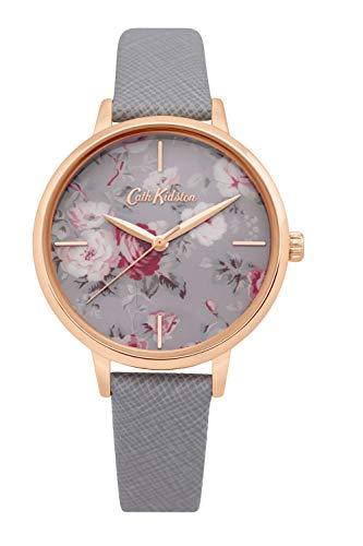 Cath Kidston Damen-Armbanduhr, Blumenmuster, Quarz, Leder, Weißgold, Ckl069Erg