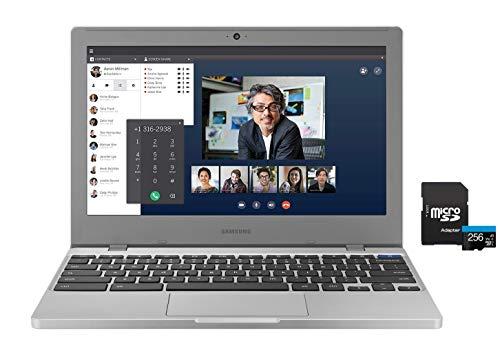 2020 Newest Samsung Chromebook 11.6' HD Laptop, Intel Celeron N4000 Processor, 4GB RAM, 32GB eMMC, Webcam, Online Class, Bluetooth, WiFi, Chrome OS , Platinum Titan, KKE 256GB MicroSD Card Bundle