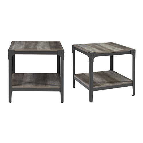 Walker Edison Rustic Farmhouse Square Wood Side End Accent Table Living Room 2 Tier Storage Shelf, Set of 2, Grey Wash