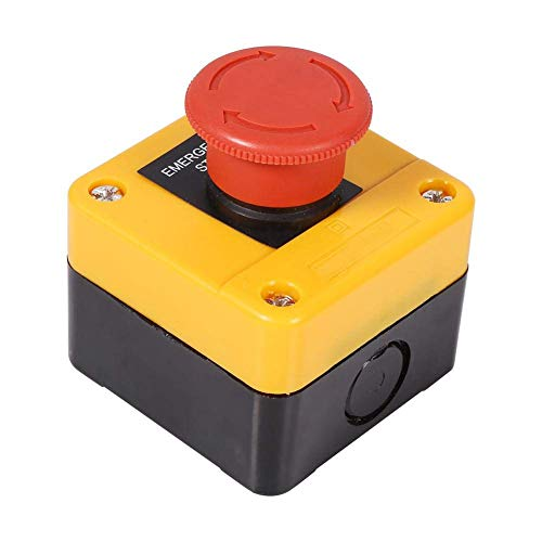 Bouton-poussoir d'arrêt d'urgence - SODIAL (R) 22mm NC Bouton-poussoir d'arrêt d'urgence à champignons rouges 660V 10A