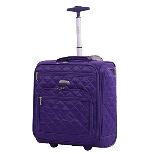 16.5' Underseat Women Luggage Carry On Suitcase - Small Rolling Tote Bag with Wheels (Purple)