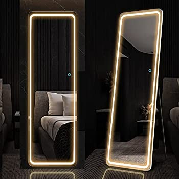 LVSOMT 63 x20  Full-Length Mirror with LED Lights Free Standing Floor Mirror Wall Mounted Hanging Mirror Lighted Vanity Body Mirror Full-Size Tall Mirror Big Stand Up Mirror for Bedroom  White