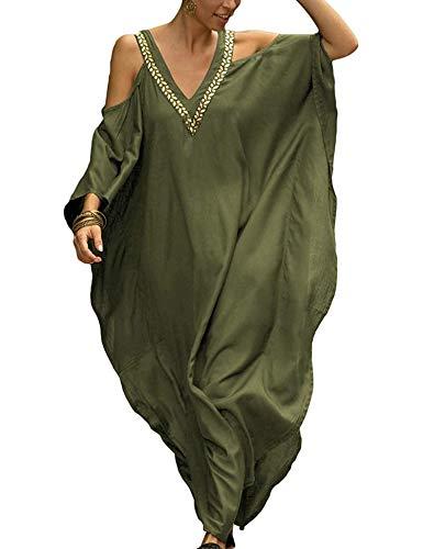 Orshoy Damen Strandkleider Türkischer Stil Boho Strandponcho Lose Maxi Kimono Sommer Bademode Strand Kaftan Tunika Kleid Urlaub One Size A-Armeegrün