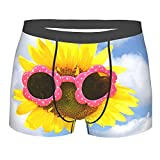 Donono Calzoncillos tipo bóxer para hombre con diseño de girasol con gafas de sol, pantalones cortos clásicos sin montar, Negro, L