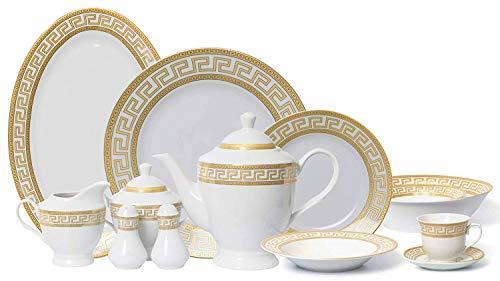 Euro Porcelain 57-pc Banquet Dinnerware Set Gold Greek Key - Luxury Tableware Dining Service for 8