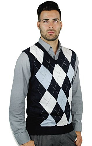 Blue Ocean Argyle Sweater Vest-Medium Navy-White