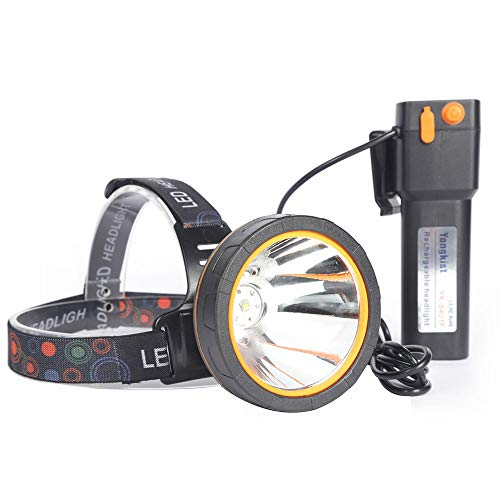 Yongkist Coon Hunting Light Powerful Headlight Super Bright Headlamp Rechargeable LED Spotlight with 18650 Battery Powered Waterproof Flashlight Head torch for Garden Outdoor Camping (Yellow)