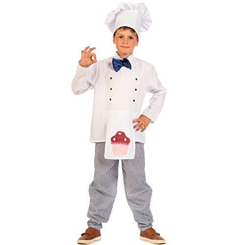 Krause & Sohn Disfraz infantil de panadero Charlie a cuadros, color blanco, para carnaval (104)