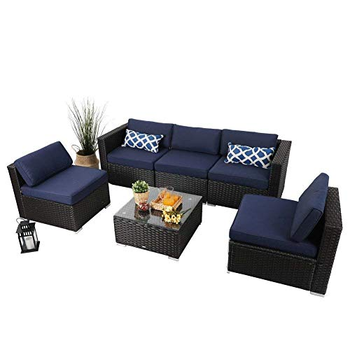PHI VILLA Outdoor Rattan Sectional Sofa- Patio Wicker Furniture Set (6-Piece 2)