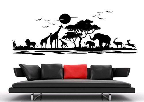 Wandtattoo wandaufkleber Aufkleber Wandsticker wall sticker Wohnzimmer Schlafzimmer Kinderzimmer KÜCHE 30 Farben zur Wahl Afrika Landschaft Tier Baum waf06(070 schwarz, Größe2:ca.100x30cm )