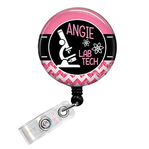 Personalized - Lab Tech with Microscope - Pink - Glitter Chevron - Button Badge Reel - BR0034