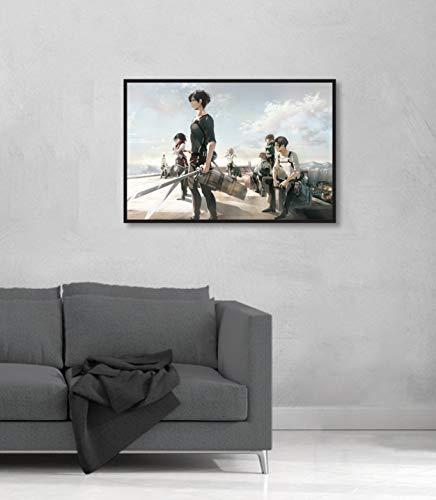 Quadro decorativo Shingeki no Kyojin Ataque dos Titãs Ellen 60x40 cm (60x40, Moldura Branca)