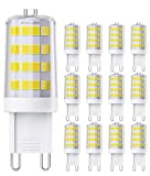 QNINE Bombilla LED G9, casquillo de pin, 4 W (equivalente a bombilla de 40 W), luz blanca fría (6000 K), 400 lúmenes, no regulable, 12 unidades