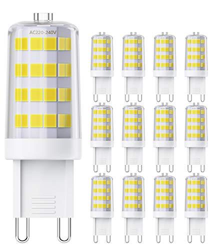 QNINE Leuchtmittel G9 LED, GU9 LED Birnen Kaltweiß(6000K), 12 Stück, 4W(Ersetz 40W Glühbirne), 400 Lumen, Nicht Dimmbar, LED Lampe/Birne mit Stiftsockel [Energieklasse A+]
